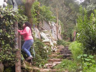 Una de las escaleras que conforman las calles de Tierra Colorada